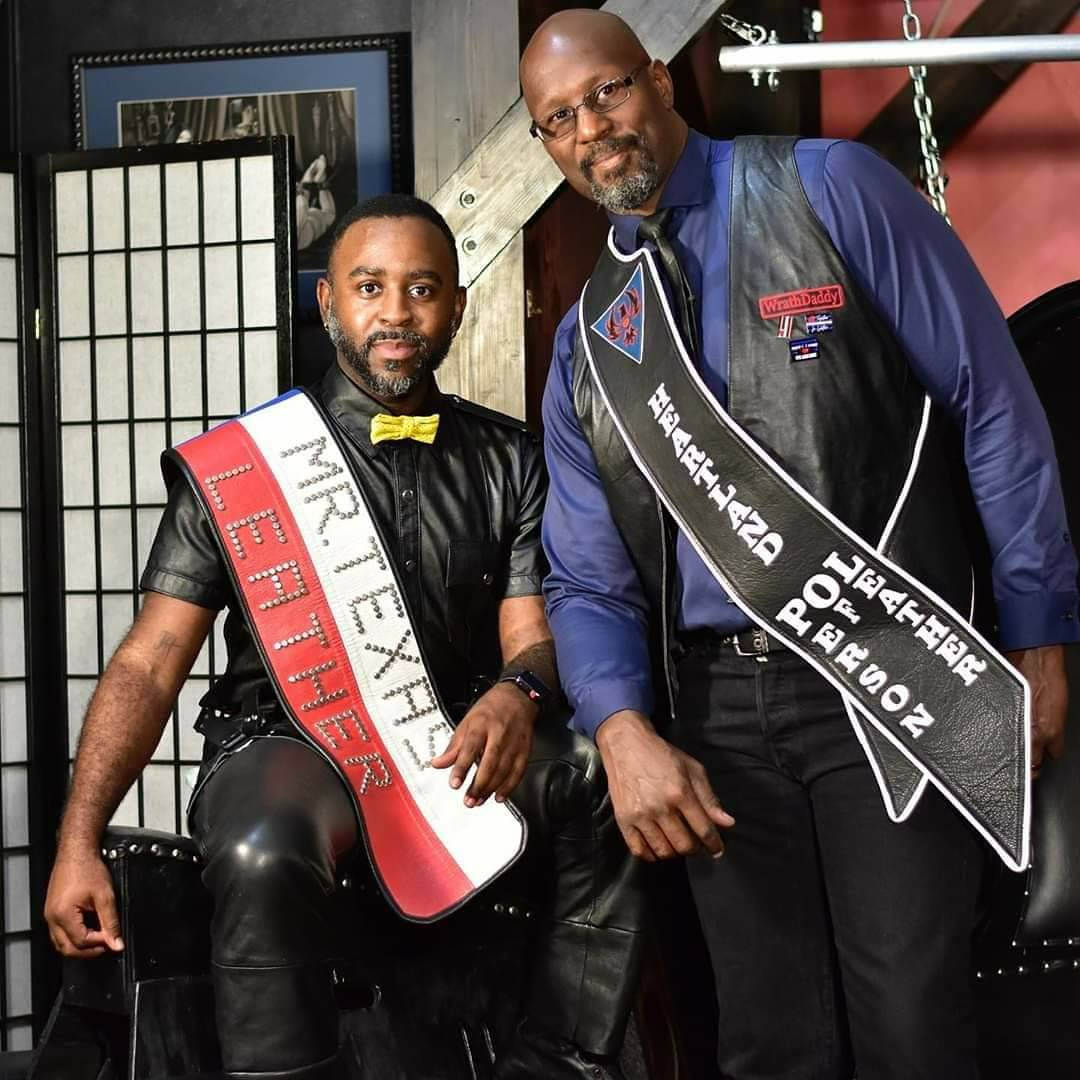 WrathDaddy (Heartland Person of Leather 2019) with Kaprese Andre (Mr. Texas Leat