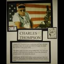 May be an image of 1 person and text that says 'C.T. CHARLES THOMPSON àm. Charles (CT) Thompson was leatherman and biker who put his money where his mouth was when bought The Spike Bar New York) the 1970s. The Spike, unlike the more serious leather bars, was open and inclusive leathermen regardless how they dressed or the seriousness with which they played. Additionally, the bar made leather women and trans folks feel welcome, particularly Sunday Afternoon Brunch and beer busts.'
